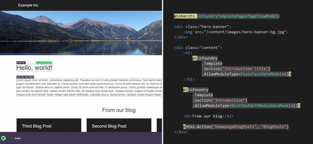 Developing templates in Cofoundry with razor, html and c#