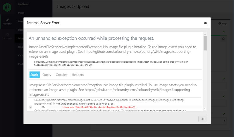 Development error handling experience in the Cofoundry CMS admin panel