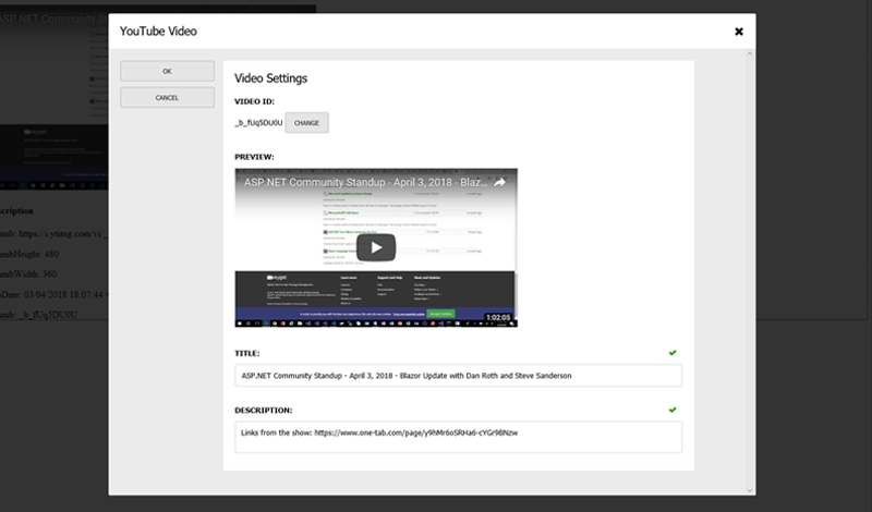 YouTube video editing in the Cofoundry CMS admin panel